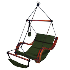 Hanging Padded Swing Lounge Backyard Hammock Chair Footrest