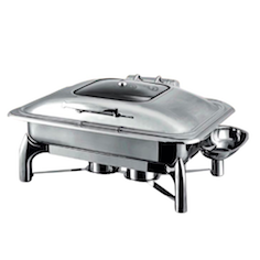 8 Quart Soft Close Lid Glass Top Rectangular Chafing Dish With Spoon Holder