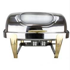 Roll Top Glass Window Commercial Chafing Dish Brass Gold Legs